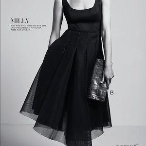 Milly Black Organza Mesh Tea-Length Dress